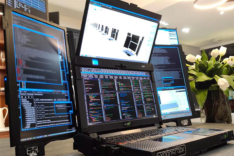 國外廠商開發配備 7 個螢幕的筆電,如果不太重的話就是多工逸品了